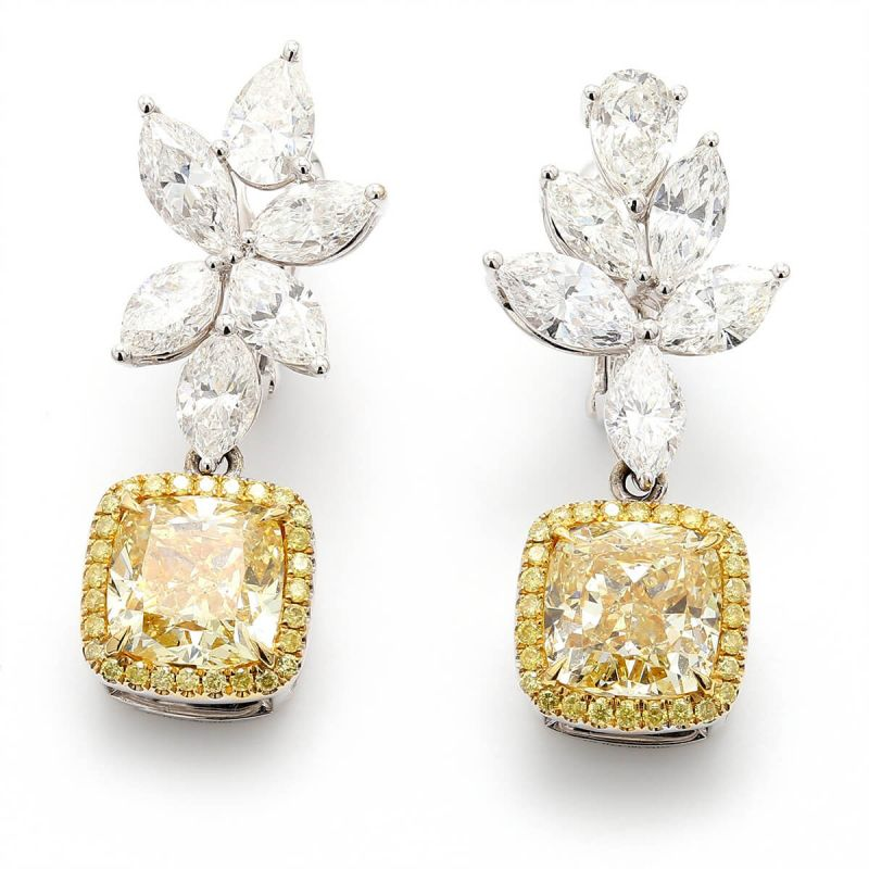 Fancy Yellow Diamond Earrings, 10.99 Ct. TW, Cushion shape, GIA Certified, JCEF05398497
