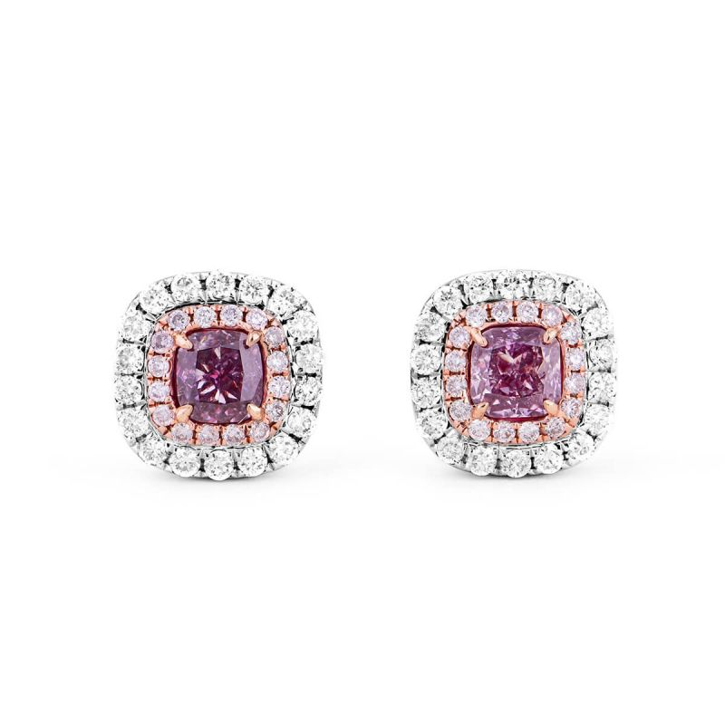 Fancy Deep Pink Purple Diamond Earrings, 0.61 Ct. TW, Cushion shape, GIA Certified, JCEF05411965