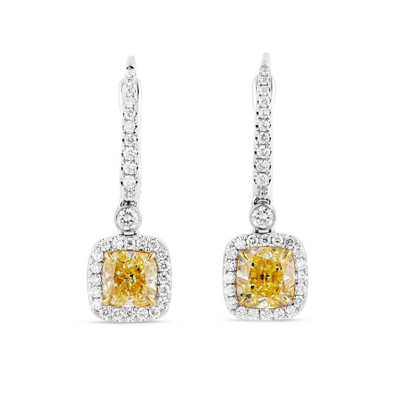 Fancy Light Yellow Diamond Earrings, 3.31 Ct. TW, Cushion shape, GIA Certified, JCEF05418819