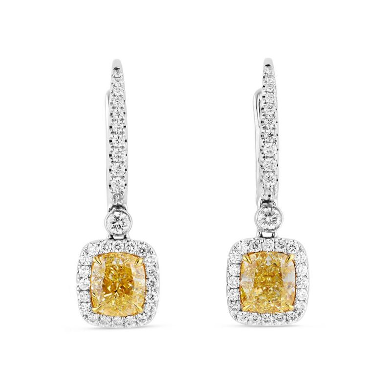 Fancy Light Yellow Diamond Earrings, 3.37 Ct. TW, Cushion shape, GIA Certified, JCEF05418826