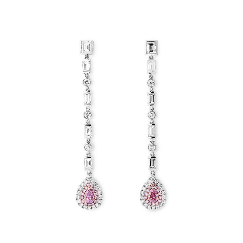 Fancy Light Purplish Pink Diamond Earrings, 0.38 Ct. (2.03 Ct. TW), Pear shape, GIA Certified, JCEF05434391