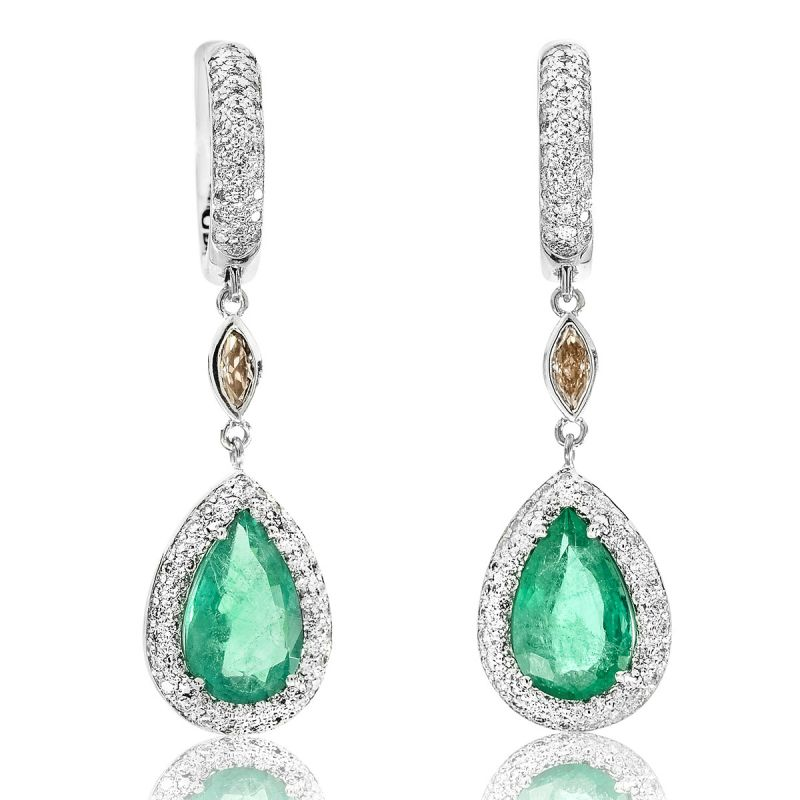 Natural Green Emerald Earrings, 5.14 Ct. TW, Unheated