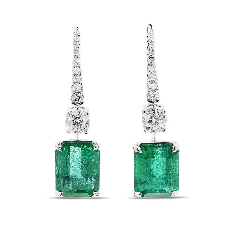 Natural Green Emerald Earrings, 14.71 Ct. TW, GRS Certified, GRS2016-127022, Unheated