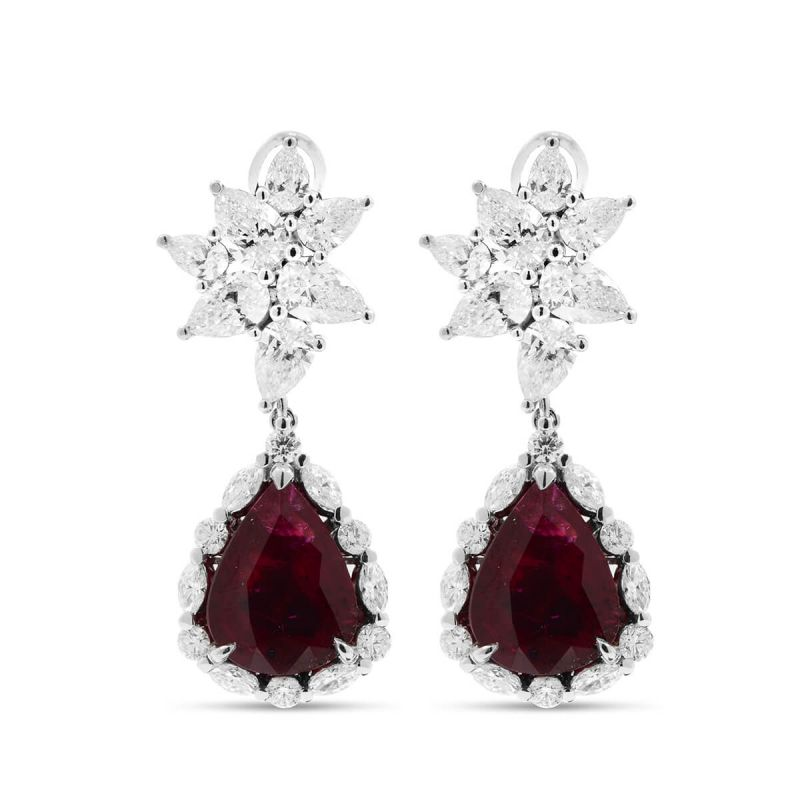 Natural Vivid Red Mozambique Ruby Earrings, 12.14 Ct. (17.22 Ct. TW), GRS Certified, JCEG01061722, Unheated