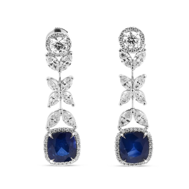 Natural Vivid Blue Sapphire Earrings, 11.62 Ct. TW, EG_Lab Certified, J5826157539, Unheated