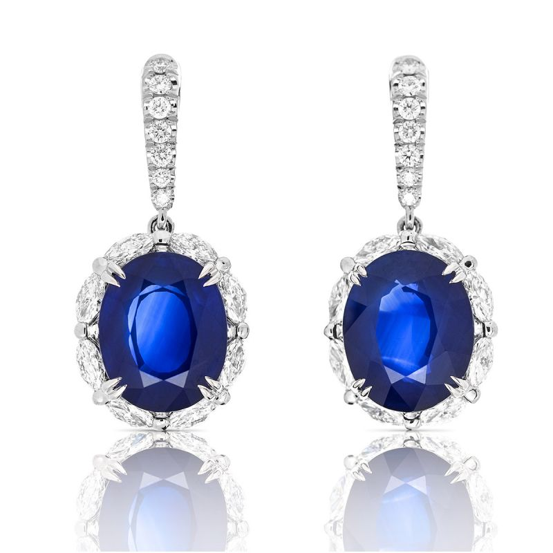 Natural Blue Sri-Lanka Sapphire Earrings, 28.31 Ct. TW, GRS Certified, JCEG05322509, Unheated