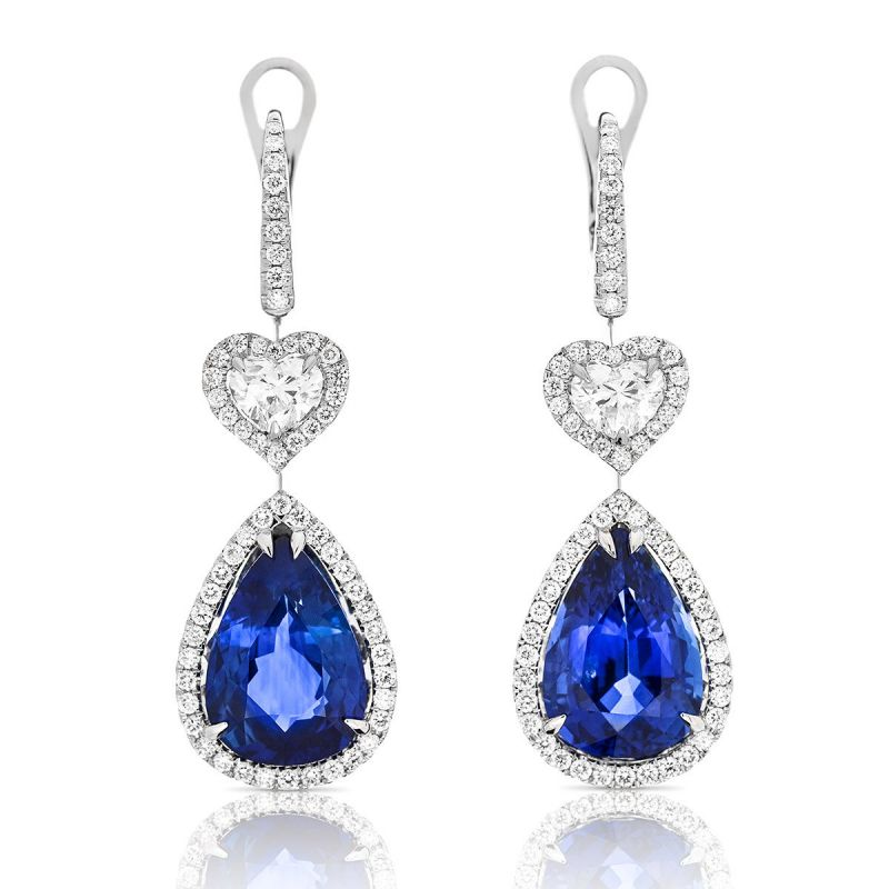 Natural Vivid Blue Sri-Lanka Sapphire Earrings, 14.41 Ct. TW, GRS Certified, GRS2015-016411, Unheated