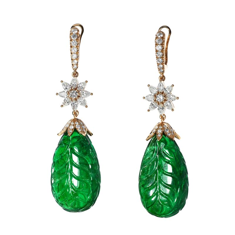 Natural Green Zambia Emerald Earrings, 86.42 Ct. (89.18 Ct. TW), GRS Certified, JCEG05331356, Unheated