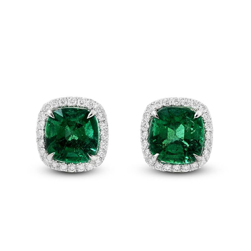Natural Green Emerald Earrings, 3.72 Ct. (4.02 Ct. TW), IGL Certified, J98593791IL, Unheated