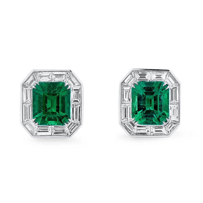 Natural Vivid Green Emerald Earrings, 2.57 Ct. (3.95 Ct. TW), GRS Certified, JCEG05448218, Unheated