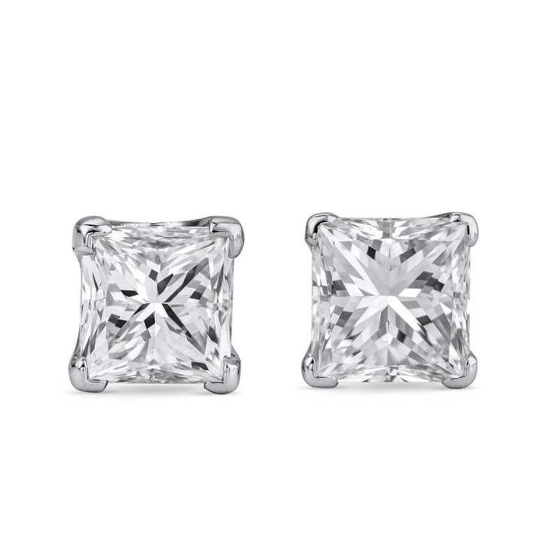White Diamond Earrings, 0.97 Carat, Princess shape, EG_Lab Certified, J5826070634