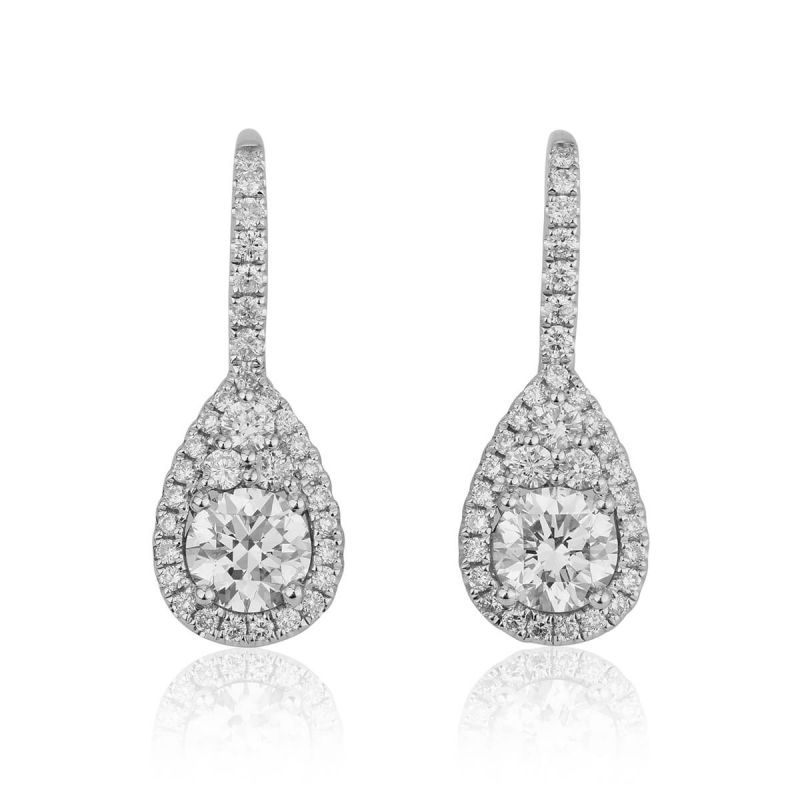 White Diamond Earrings, 1.68 Ct. TW, Round shape, ZSX Certified, 88867069469311