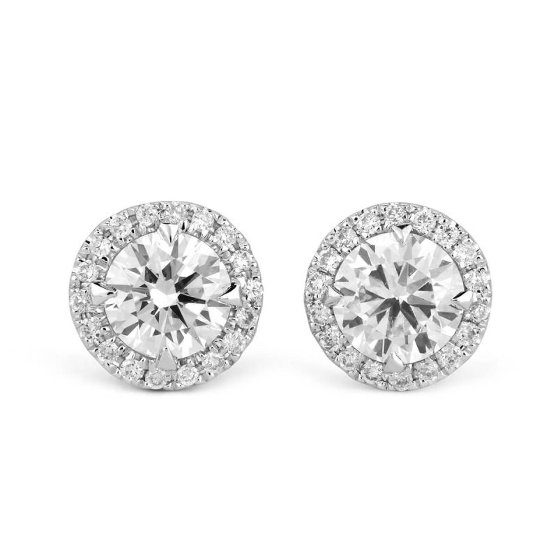 White Diamond Earrings, 0.83 Ct. TW, Round shape