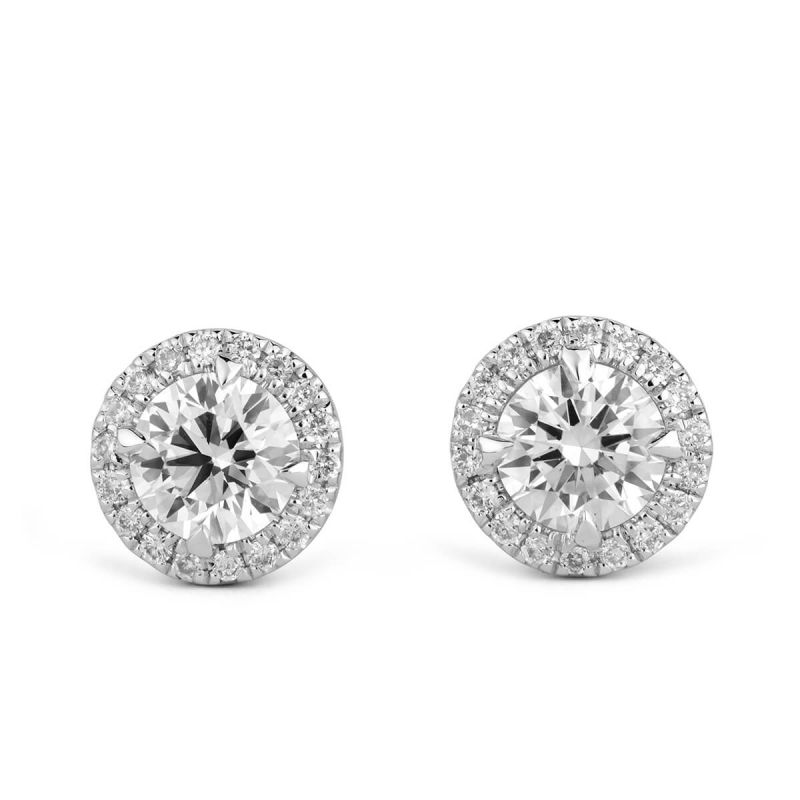 White Diamond Earrings, 0.78 Ct. TW, Round shape