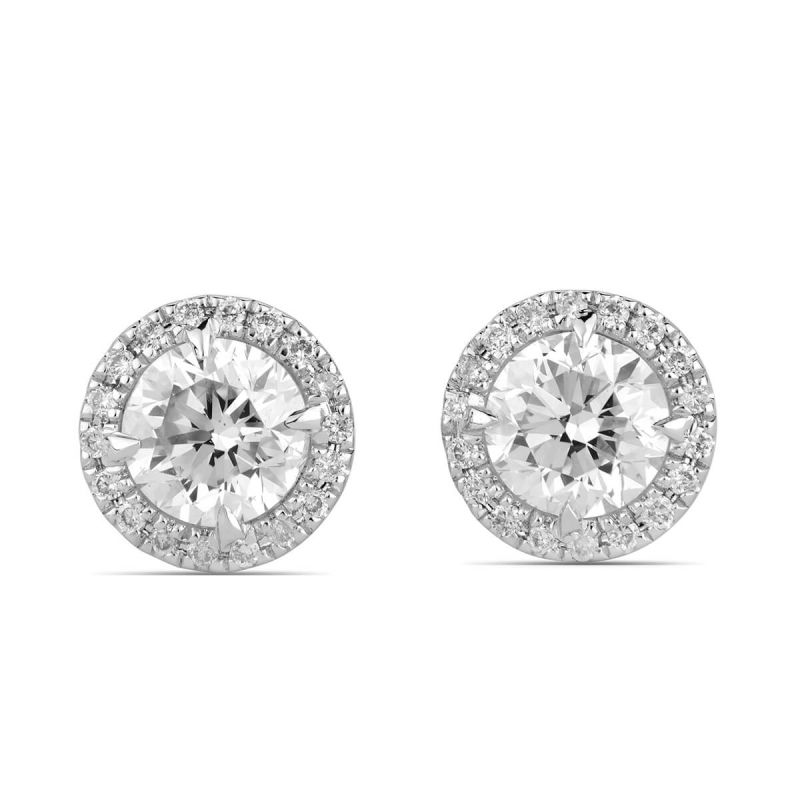White Diamond Earrings, 1.11 Ct. TW, Round shape