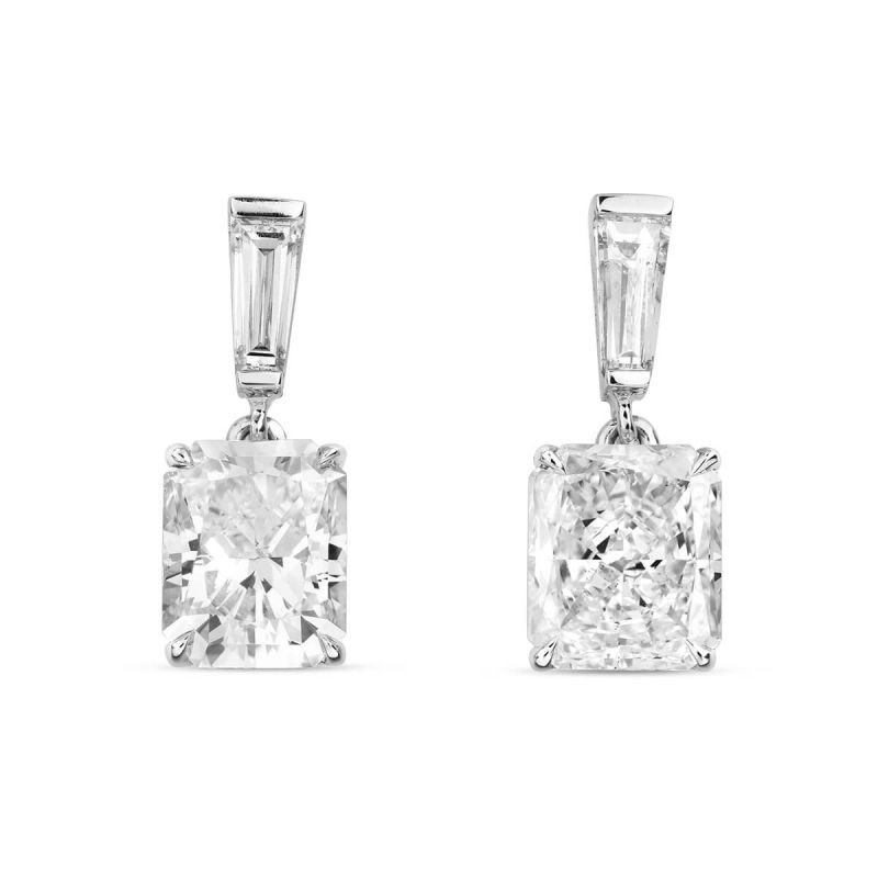 White Diamond Earrings, 2.34 Ct. TW, Radiant shape, GIA Certified, JCEW05393519
