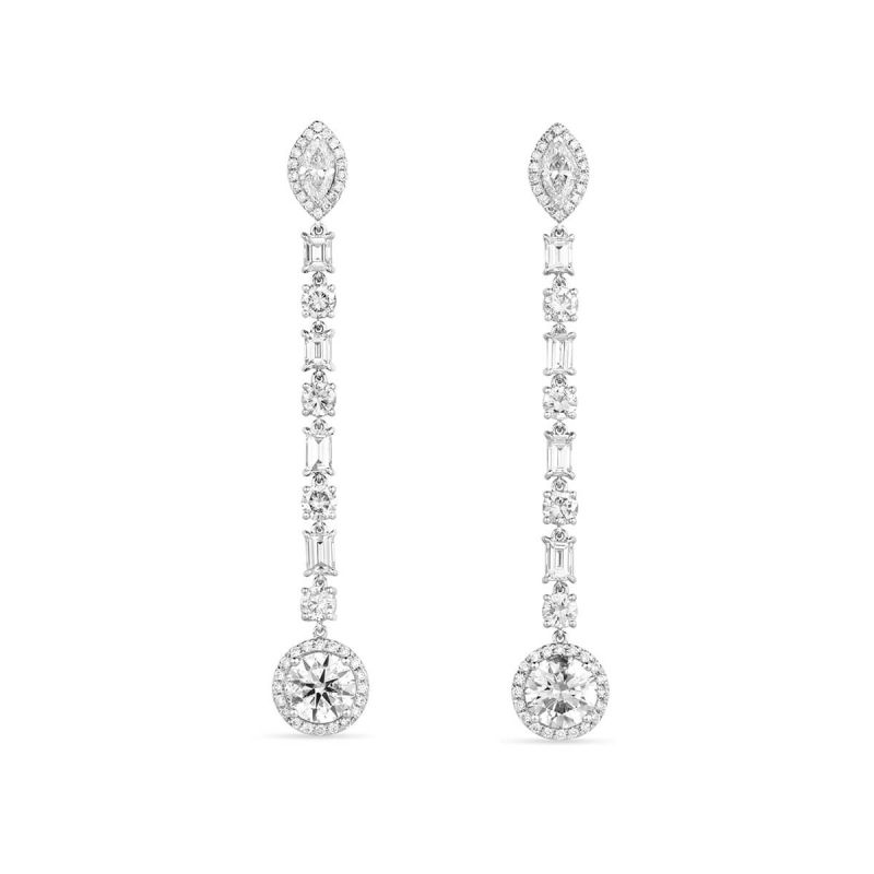 White Diamond Earrings, 5.18 Ct. TW, Round shape, EGL IL Certified, JCEW05416827