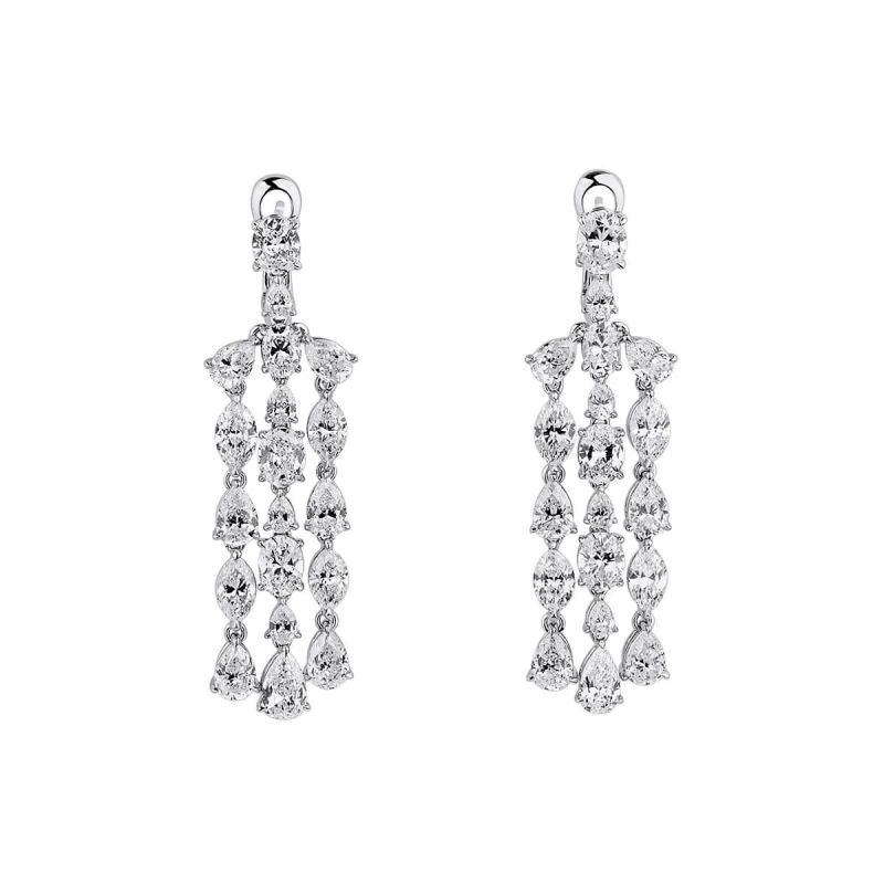 White Diamond Earrings, 11.37 Carat, Pear shape