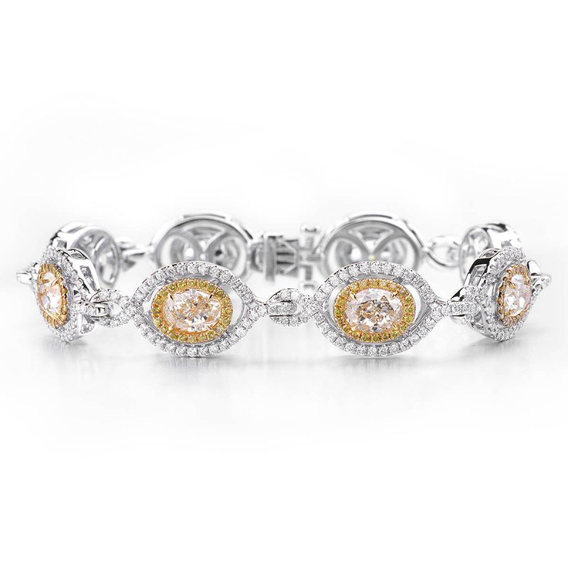 Fancy Yellow Diamond Bracelet, 9.02 Ct. (12.11 Ct. TW), Oval shape, EG_Lab Certified, J5726207938