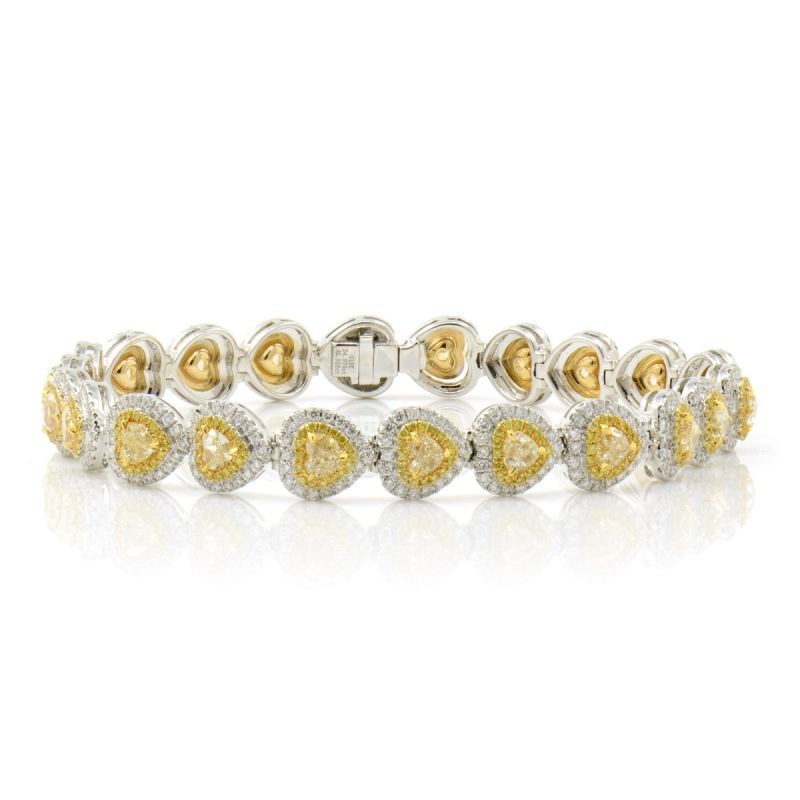 Fancy Light Yellow Diamond Bracelet, 7.08 Carat, Heart shape