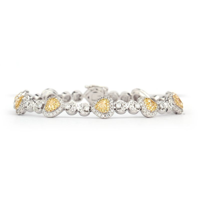 Fancy Yellow heart design Diamond Bracelet,1.14 ct