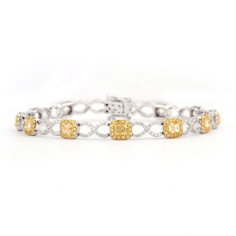 Fancy Yellow Diamond Bracelet, 3.29 Ct. TW, Cushion shape