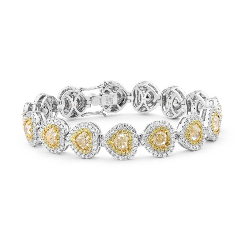Fancy Yellow Diamond Bracelet, 11.56 Ct. (16.77 Ct. TW), Heart shape, EG_Lab Certified, J5826182638