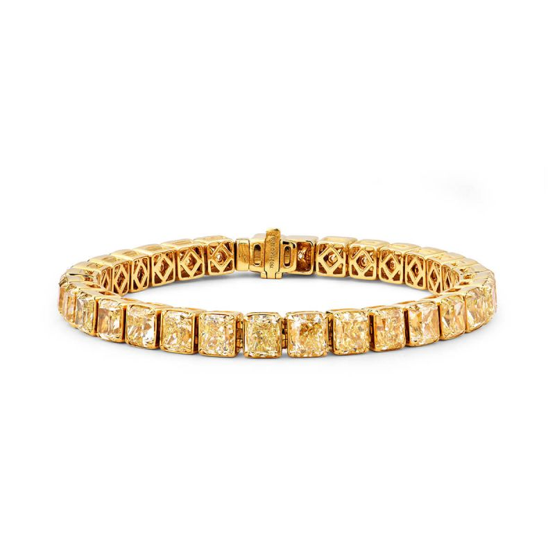 Fancy Intense Yellow Diamond Bracelet, 32.09 Carat, Radiant shape