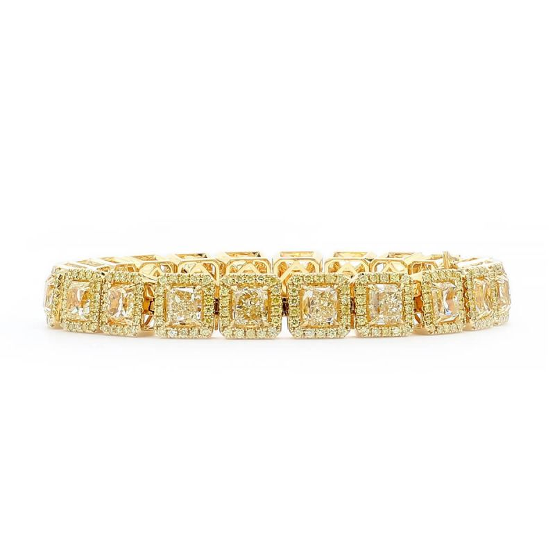 Fancy Intense Yellow Diamond Bracelet, 22.10 Ct. (25.38 Ct. TW), Radiant shape