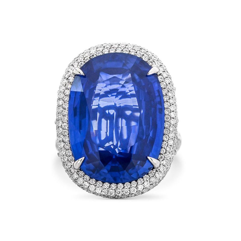 Natural Blue Sri-Lanka Sapphire Ring, 32.35 Ct. TW, GRS Certified, GRS2015-102428, Unheated