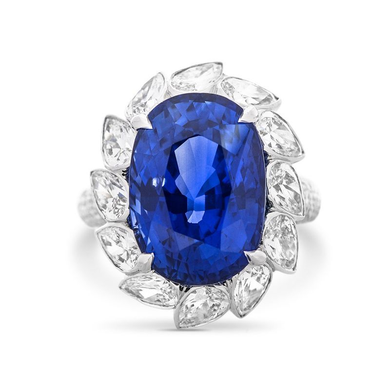 Natural Blue Sri-Lanka Sapphire Ring, 12.94 Ct. (16.64 Ct. TW), GRS Certified, GRS2013-030755T, Unheated