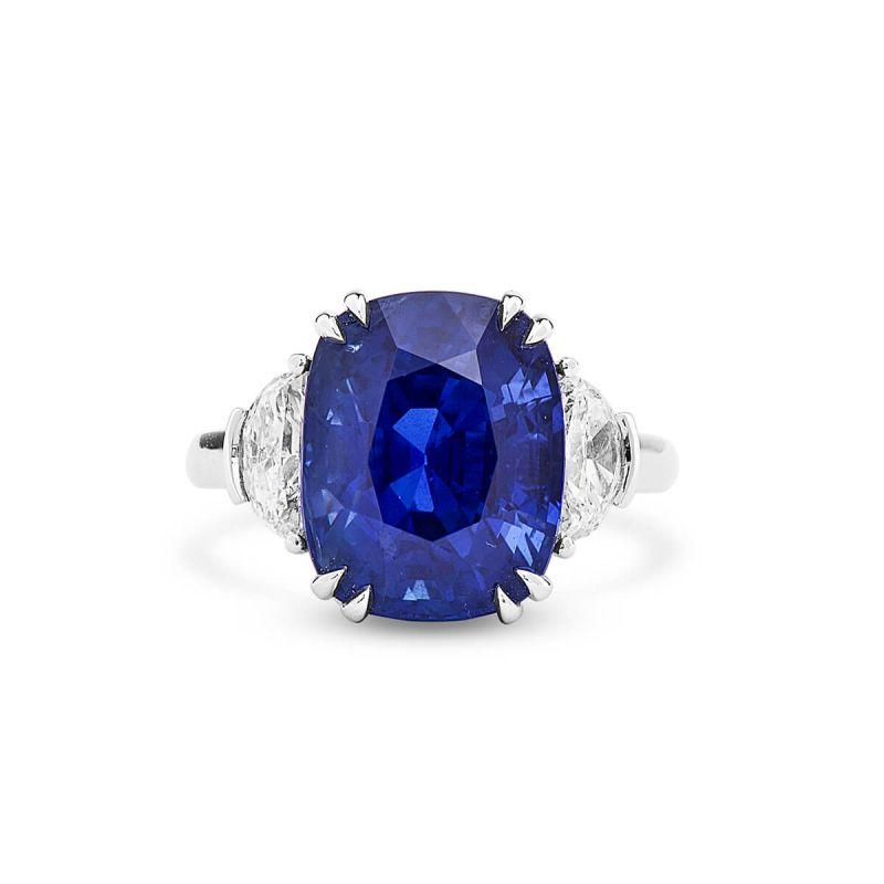 Natural Vivid Blue Sapphire Ring, 10.04 Carat, GRS Certified, 2017-090603, Unheated