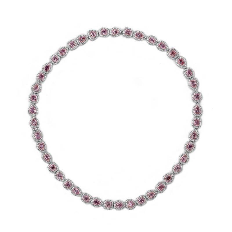 Fancy Orangy Pink Diamond Necklace, 14.29 Ct. TW, Pear shape, GIA Certified, JCNF05383077