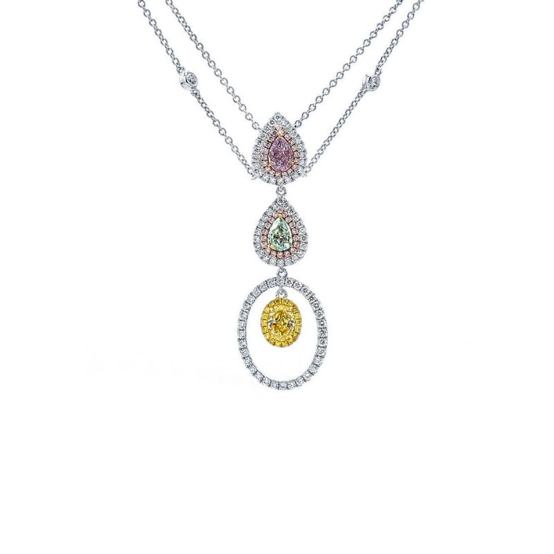 Fancy Light Purplish Pink Diamond Necklace, 1.23 Ct. (2.18 Ct. TW), Mix shape, GIA Certified, JCNF05430165