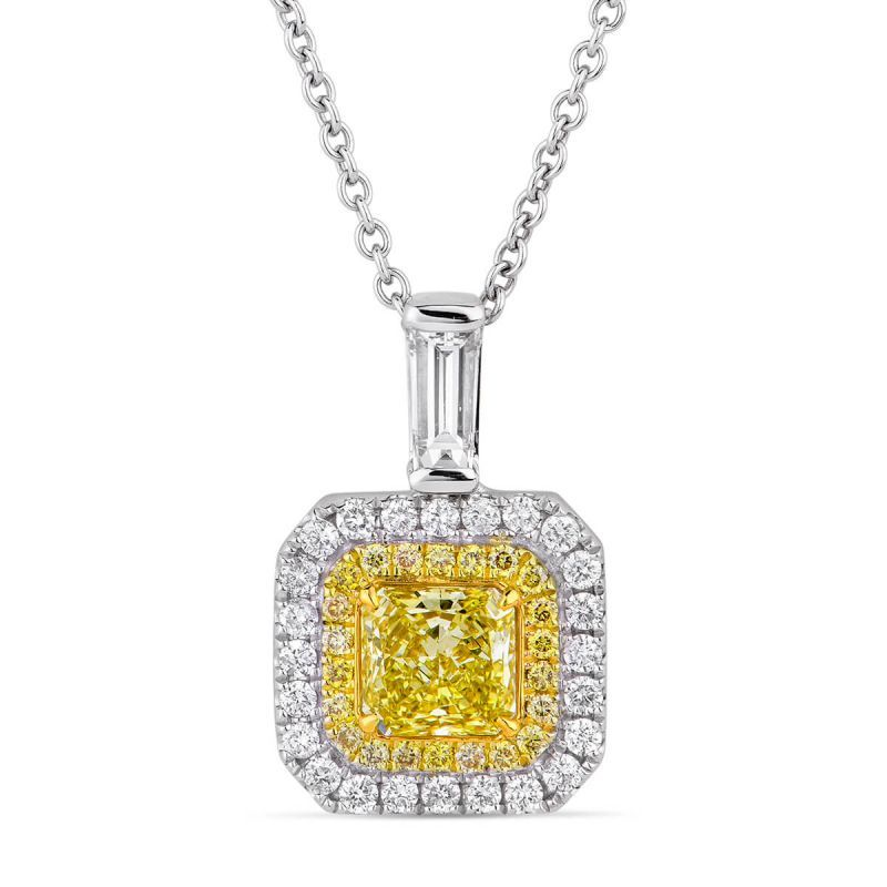 Fancy Light Yellow Diamond Necklace, 1.11 Ct. TW, Radiant shape