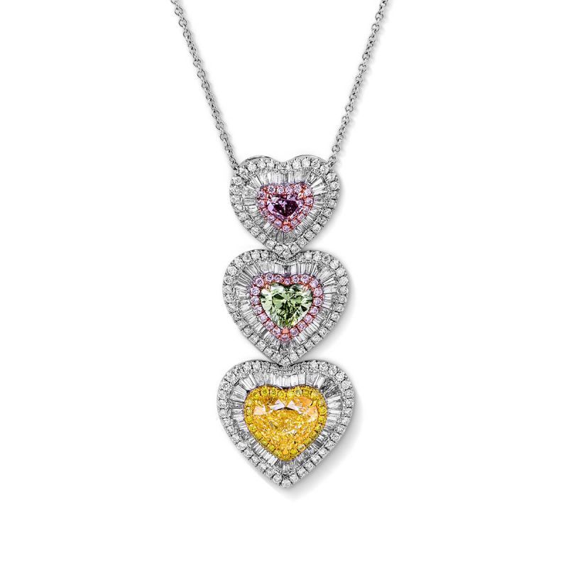 Fancy Light Yellow Diamond Necklace, 5.74 Ct. TW, Heart shape, GIA Certified, JCPF05366547