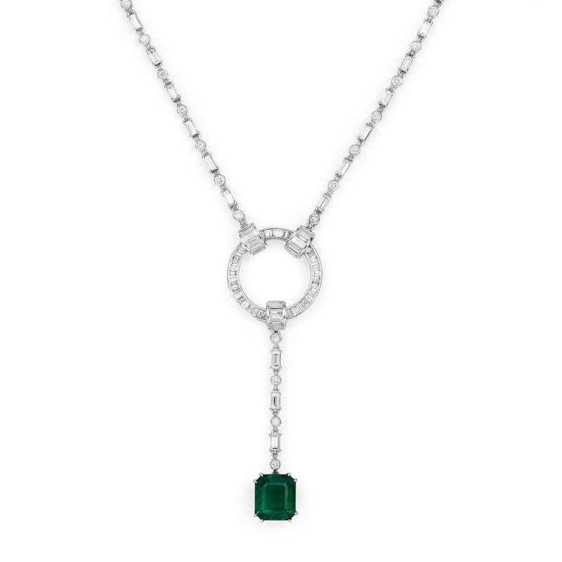 Natural Vivid Green Emerald Necklace, 4.79 Ct. TW, GRS Certified, GRS2018-078134, Unheated