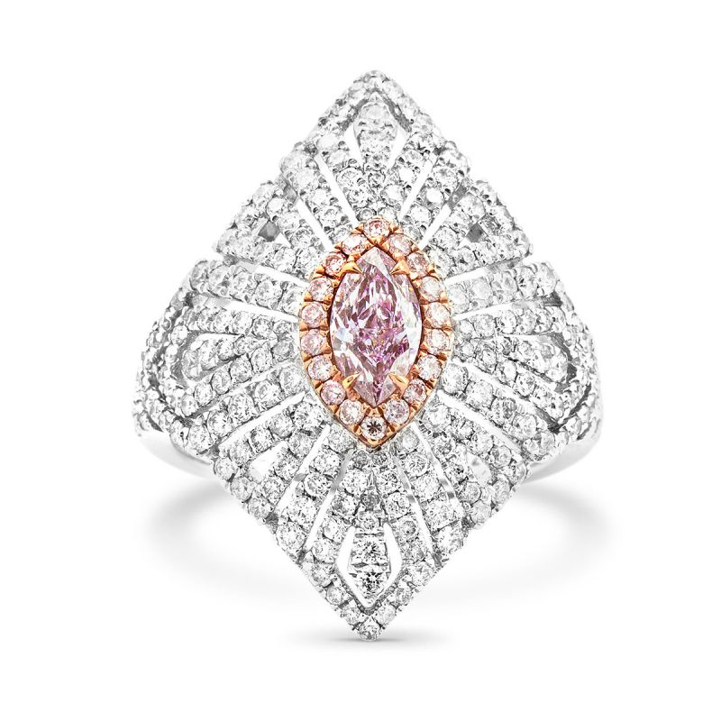 Fancy Light Purplish Pink Diamond Ring, 1.61 Ct. TW, Marquise shape, GIA Certified, 2206661674