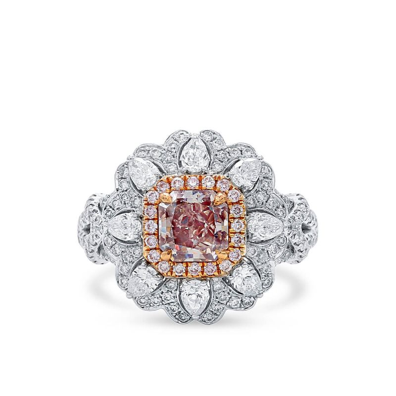 Very Light Pink Diamond Ring, 2.37 Ct. TW, Radiant shape, GIA Certified, 2136728480
