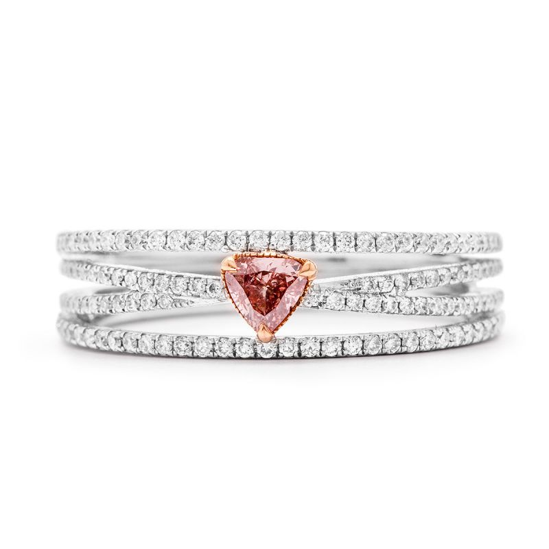 Fancy Pink Diamond Ring, 0.15 Ct. (0.46 Ct. TW), Heart shape
