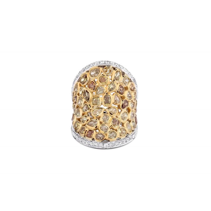 Fancy Yellow Diamond Ring, 5.78 Carat, Mix shape