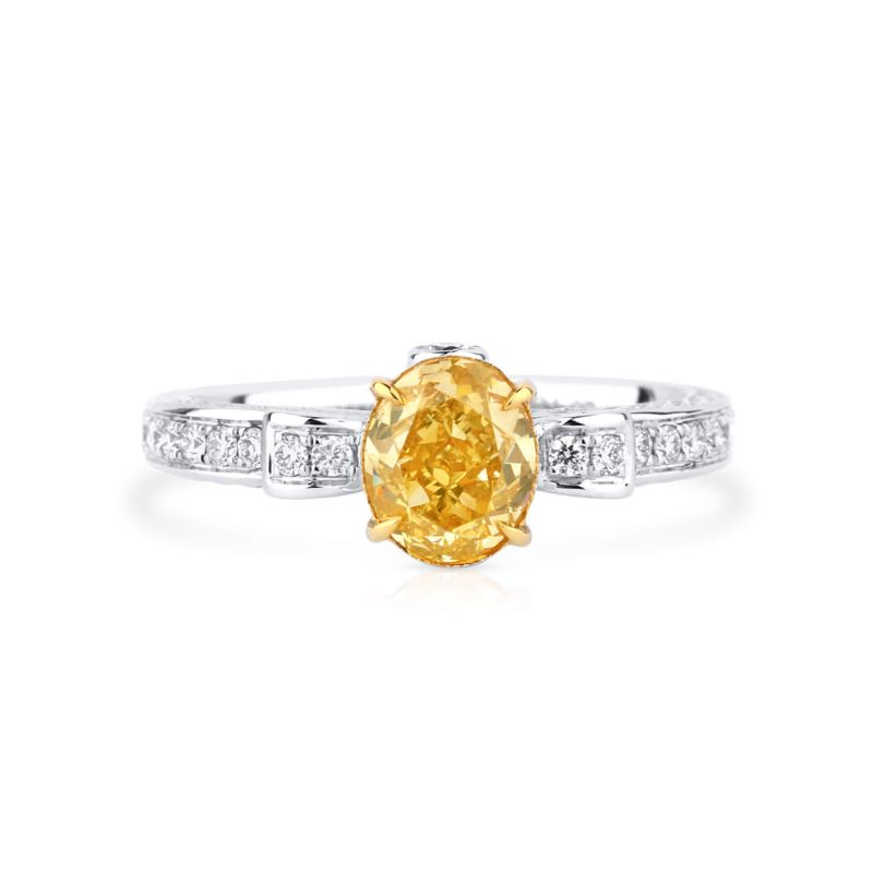 Fancy Intense Yellow oval pave Diamond Ring, 1.07 ct, VS1, GIA