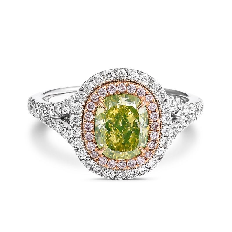 Fancy Intense Greenish Yellow Diamond Ring, 2.59 Ct. TW, Cushion shape, GIA Certified, 1176178213