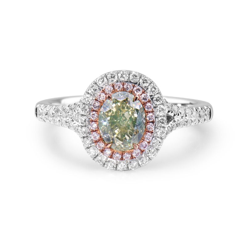 Fancy Light Yellow Green Diamond Ring, 1.47 Ct. TW, Oval shape