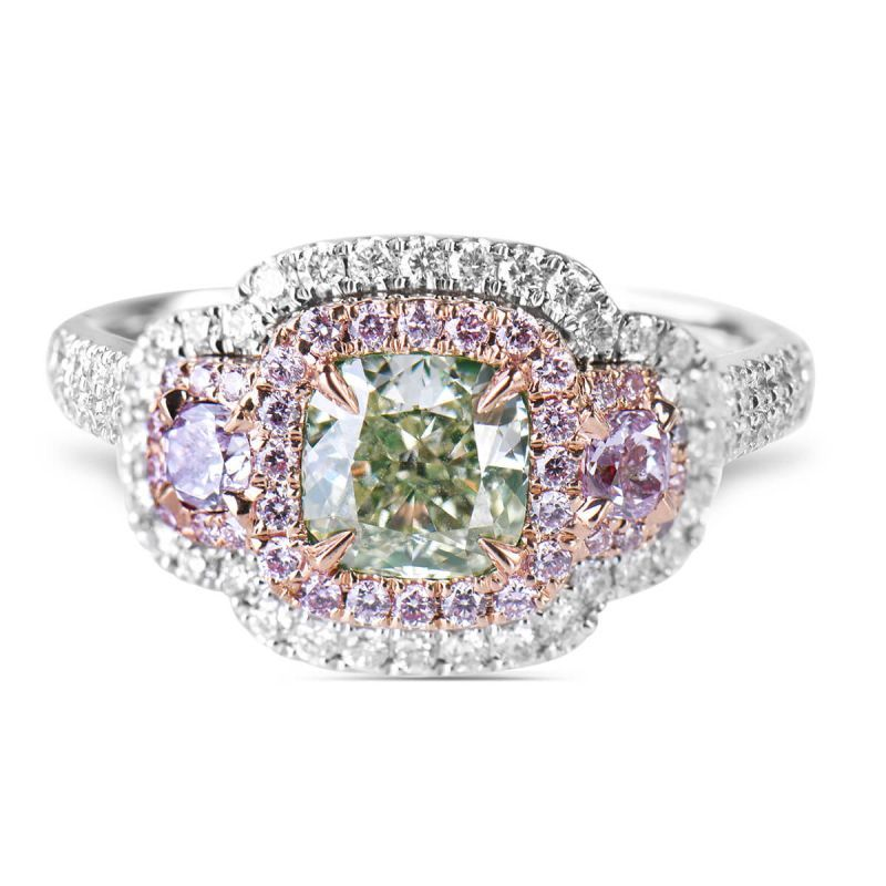 Fancy Light Greenish Yellow Diamond Ring, 1.92 Ct. TW, Cushion shape, GIA Certified, 2181335257
