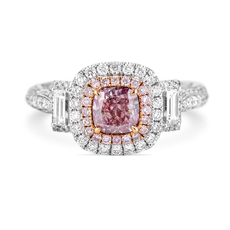 Fancy Brownish Purple Pink Diamond Ring, 1.68 Ct. TW, Cushion shape, GIA Certified, 6165768134