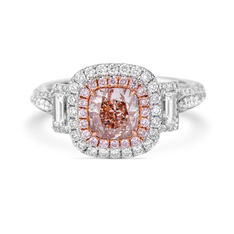 Fancy Pinkish Brown Diamond Ring, 1.12 Ct. (2.03 Ct. TW), Cushion shape, GIA Certified, 2197687249