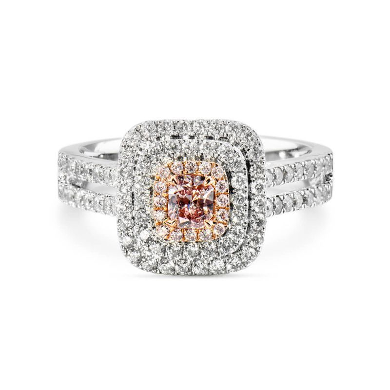 Fancy Pink Purple Diamond Ring, 0.72 Ct. TW, Cushion shape