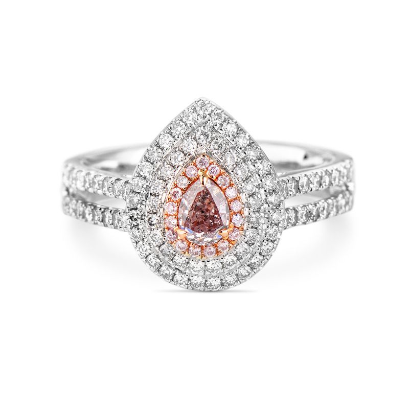 Fancy Pink Purple Diamond Ring, 0.78 Ct. TW, Pear shape