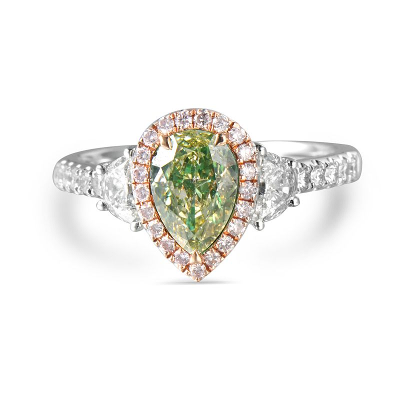 Fancy Yellowish Green Diamond Ring, 2.83 Ct. TW, Pear shape, EG_Lab Certified, J5726221530